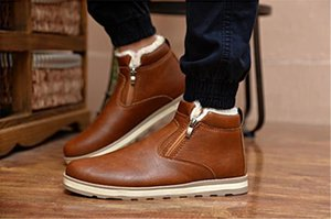Hot Sale Winter Men's Snow Warm Round Toes Ankle Boots Boots Snow Boots Suede Leather Shoes Middle Boot Casual Shoes Thickening Men Shoes