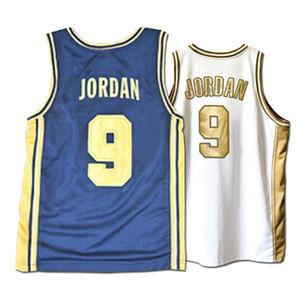 Ucuz Toptan 9. Koleji basketbol Jersey Yeni Mavi Beyaz Dikişli tişört Yelek Dikişli Herhangi Adı Özel Sayı Boyut 2XS-4XL Ücretsiz Kargo