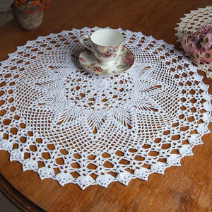 Handmade Crochet Doilies Lace Flower Tablecloth Cotton Doily Placemats Table Cover Mat Coasters Home Decor 50cm Round