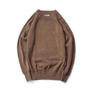 Maglione High Street allentato autunno a maniche lunghe maglione Homme Solid Top Mens Retro Corduroy
