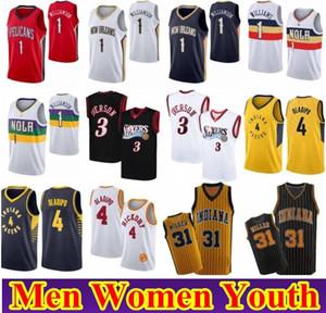 Uomo Donna Bambini giovani Sion 1 Williamson Victor 4 Oladipo Jersey di pallacanestro NCAA Allen Iverson 3 Reggie Miller 31 Retro cucita Jersey