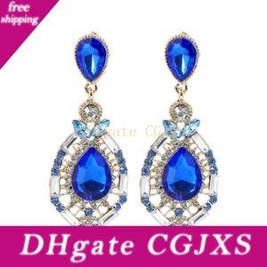 2020 Cheap mariage Accessoires de mode bijoux en strass diamant de mariée Boucles d'oreilles En Stock Livraison gratuite Blue Green