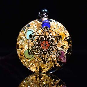Collar Orgonite de protección de generador de energía orgón colgante del arco iris Piedras de Cristal Chakra curativo de radiación EMF