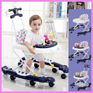 Baby Walker with 8 Wheels Rollover Multifunctional Learning Walker Car with Music 5 Levels Infant Walking Assistant Hand Push
