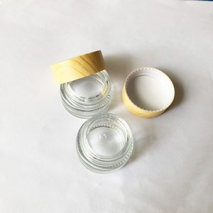 5ml Clear Glass Cream Dry Herb Wax Thick Oil Container Wood Grain Plastic Lid Glass Jars Tank Cosmetic Jar Containers Packing Box