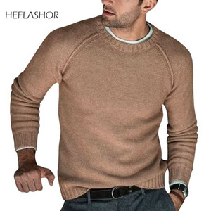 HEFLASHOR Men Wool Knitted Sweaters Warm O Neck Pull Knitwear Autumn Winter Clothes Casual Tricot Jumper Pullovers Sweater Homme