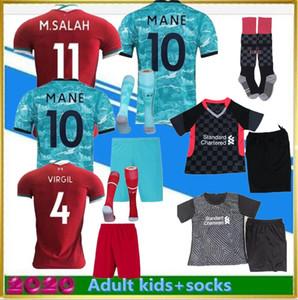 Novas 2020-21 top camisa de futebol de qualidade para adultos crianças kits 2020 2021 casa longe camisa de futebol kit criança set uniformes