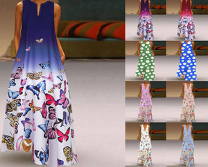 falda larga 4gxrM Primavera nuevo HD verano de las mujeres de la mariposa impresa bohemio V-cuello Butterfly Beach Beach falda sin mangas