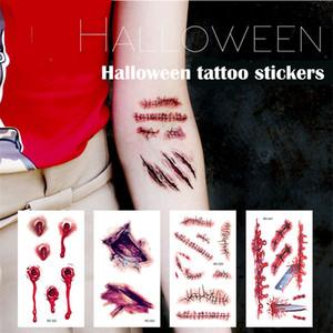 Tatuagem à prova d 'água personalizada adesivos Halloween feridas assustadoras de sangue realista tatuagem de padrão de cicatriz