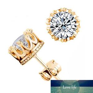 Wholesale Crystal Zircon Ear Studs Crown Gold Silver Ear Nails Wedding Jewelry Statement Fashion Female Trinket Earrings Gifts Accessory