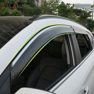 Car Acessórios Janela Visor Sun Chuva de vento Deflector Toldo protetor respiradouro Guarda Sombra Tampa guarnição 4pcs Para Hyundai Tucson 2016 2017 HMb3 #