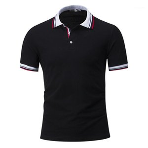 Polo Shirts Casual Mens Summer Tops Mens Designer Contrast Color Polos Fashion Striped Print Lapel Neck Short Sleeve