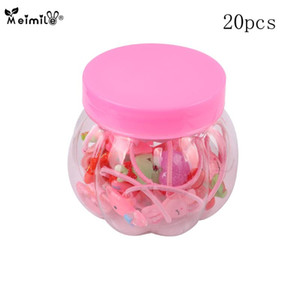 New 20PCS set girls candy colors nylon rubber bands baby cartoon safe elastic hair bands ponytail holder kids hair accessories