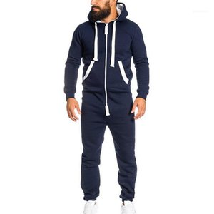 Length Apparel Autumn Winter Mens Patchwork Loose Jumpsuits Casual Tracksuits Hooded Sportswear With Pocket Fashion Rompers Full