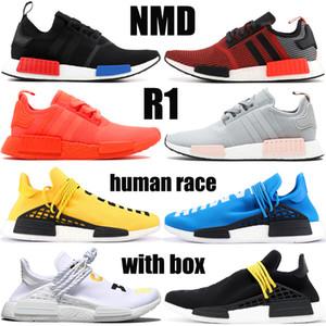 مع مربع NMD R1 الجنس البشري الاحذية المورقة الأساسية الحمراء الخصبة أسود أحمر HU هوى فاريل رجل الأصفر إمرأة حذاء