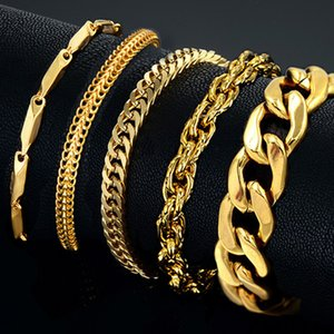 Uomo Acciaio Maschio all'ingrosso Braslet Silver Colore braclet Chunky cubana Chain Link bracciale in oro per l'uomo