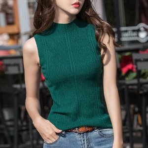 female girls office lady Knitted sleeveless T shirt waistcoat Summer New Womens Half high collar pullover basic vest shirt tops