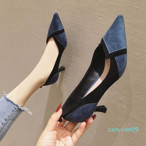Hot Sale-Women's High-Heeled Shoes Thin Heeled Tip In Her Suede Rubber Women Shoes High Heel Womens Kitten Heels Woman