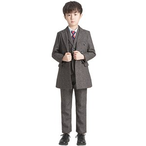 New Wedding Suit For Flower Boys Kids Formal Birthday Party Dress Blazer Jacket Vest Pants Suit Set Boys Tuxedo Children Costume