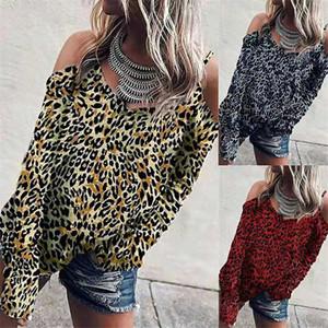 Camisetas del diseñador para las mujeres leopardo de manga larga jersey suelto Tops Mujer ocasional atractivo de la camiseta del verano camisetas