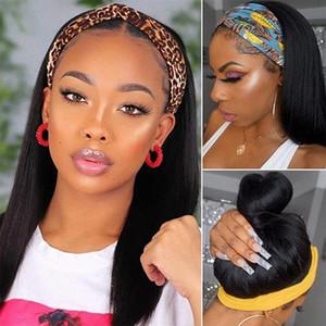 ALLOVE Yaki straight nenhum rendas perucas kinky peruca encaracolado solta água profunda onda de corpo humano perucas com headbands para mulheres negras