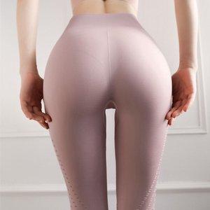 SALSPOR Yoga-Gamaschen-Frauen höhlen heraus Solid Color Push Up Schlanke Jogginghose Elastics Breath Joggings Gamaschen