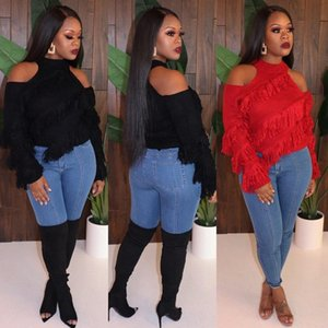 Womens Off shoulder Tassel Knitted Tops Spring Fall Fashion long sleeve Sweaters Pullovers sexy clubwear Party Streetwear plus size clothing