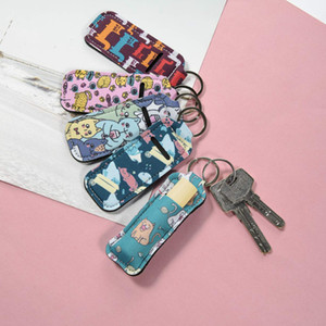 Hand Sanitizer Holder Neoprene Keychain Mini Bottle Cover White Color Rectangle Shape Chapstick Holder In Stock