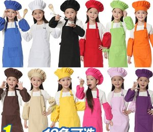 Christmas Gifts 3pcs set Children Kitchen Waists 12 Colors Kids Aprons with Sleeve&Chef Hats for Painting Cooking Baking