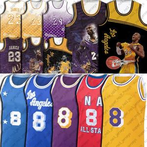Vintage Basketball Jersey 8 24 Bryant Yellow Purple Basketball Jerseys Throwback Black Mamba Jersey LeBron 23 James Jerseys Throwback