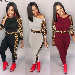 Inverno Womens definir Patchwork leopardo Leggings Imprimir calças de terno completo manga dois conjuntos treino pedaço roupas Clube Sportwear