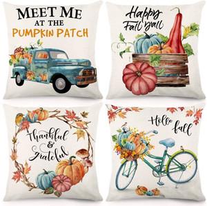 Queda Throw Pillow Covers 18x18 polegadas Caso Almofada da acção de graças Farmhouse decorativa Autumn fronha de algodão de linho para Home Decor
