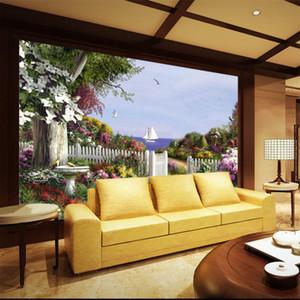 3D large muralEuropean oil painting garden wallpaper TV living room bedroom hotel restaurant background wall covering landscape
