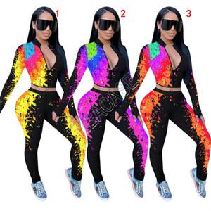 Femmes Survêtement Concepteurs Graffiti Tie-dye imprimé à manches longues Zipper Crop manteau de veste Pantalons Leggings Deux Automne Piece Vêtements Costume D81704
