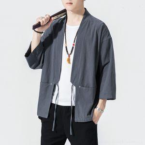 2KdUk Chinese Hanfu Tang suit robes men Bracelet Cloak kimono light kimono bracelet sleeve loose cloak men's coat
