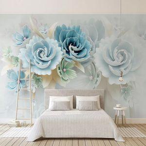 Custom Self-Adhesive Waterproof Canvas Mural Wallpaper 3D Blue Flowers Modern Home Decor Photo Wall Murals Removable 3D Stickers