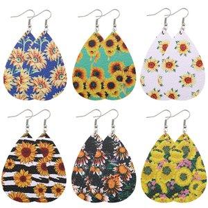 Boho Sunflower Earrings PU Print Drop Earrings Vintage Teardrop Dangle Earrings Fashion Women Jewelry Birthday Gift Free Shipping AAE1724