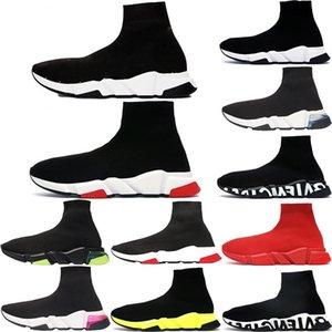 2020 En Kaliteli Moda Hız Eğitmen Erkekler Kadınlar Çorap Günlük Ayakkabılar Üçlü Siyah Beyaz Neon Gri Kraliyet Erik Erkek Stilist Sneakers