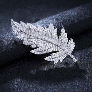 мужские ювелирные изделия перо брошь ювелирные изделия контактный прямой стиль инкрустированный бриллиантами лист брошь одежды Pin женщин British mbQen