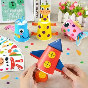 12pcs Children 3D DIY handmade paper cups sticker material kit   Whole set Kids kindergarten school art craft educational toys CX200820