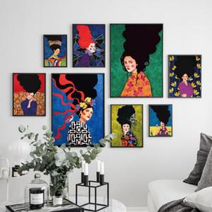 Arte de la pared pelo de la mujer de la vendimia del pájaro lona de las flores Pintura nórdicos pósters Abstract Pared De Cuadros para la decoración de la sala de estar