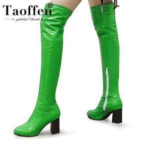 Taoffen 6 cores Plus Size 34-48 Longo Botas Mulheres Sólidos Salto colorido de alta sapatos de inverno quente botas Women Over The Knee