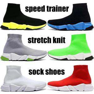 Top Speed entrenador casuales zapatos calcetín negro verde amarillento azul oreo elástica triple voltio hombres de punto de las mujeres de color rojo zapatillas de deporte de Estados Unidos 5,5-11