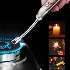 Elektrikli Darbeli Ark Çakmak LED Pil Ekran Emniyet Anahtarı Flamless Mum Çakmak Uzun Boyun barbekü Mutfak Şömine Soba Pişirme için