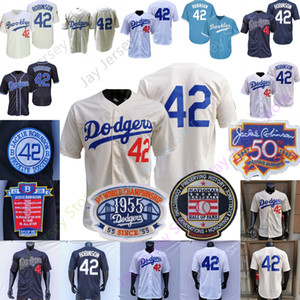 Jackie Robinson Jersey Coopers-Stadt 1955 Ruhmeshalle Brooklyn Blau Weiß Grau Creme Home Away Männer Größe M-3XL Alle genähtes
