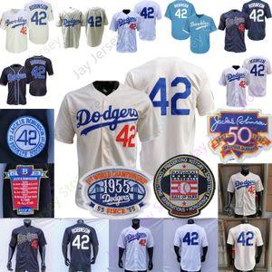Jackie Robinson Jersey Coopers-town 1955 Hall Of Fame Brooklyn Azul Cinzento Branco Creme Casa Fora Men Tamanho M-3XL Tudo costurado