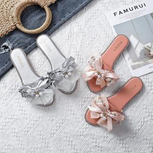 une ligne d'été nouvelle pantoufles célébrité Internet grande perle fleur Pendentif 2020 pendentif perle pantoufles bowknot chaussures de forage doux fond kxv9J