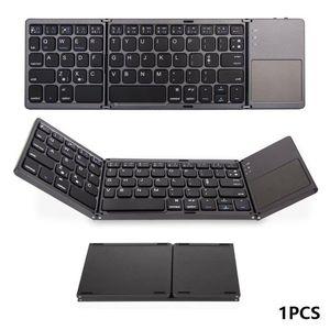 Fare Dokunmatik damla nakliye Mini Kompakt Üçlü Katlanır Klavye Taşınabilir Serin Kablosuz Telefon Tablet Klavye