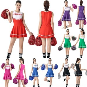 suQu6 Novas vestuário feminino aplausos de estudantes cheerleading uniforme desempenho traje DS cheerleading traje do estágio desempenho uniforme