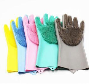 Geschirrhandschuh Silikon-Abstauben Dish Washing Handschuhe Resuable Silikon Wasserdicht Fäustling Haushalt Scrubber Küche Badezimmer Werkzeuge EWE767